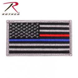 Thin Blue Line / Thin Red Line US Flag Patch - Hook Back